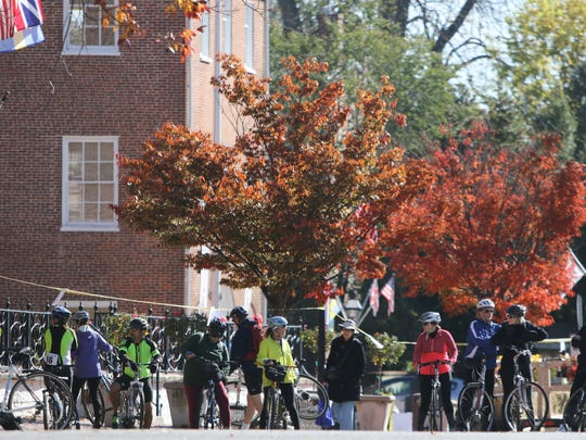 Cyclists prepare to ride from New Castle to Delaware City in the River Towns Ride and Festival in 2015.
