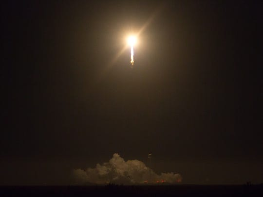 A view of the Antares rocket during its launch from