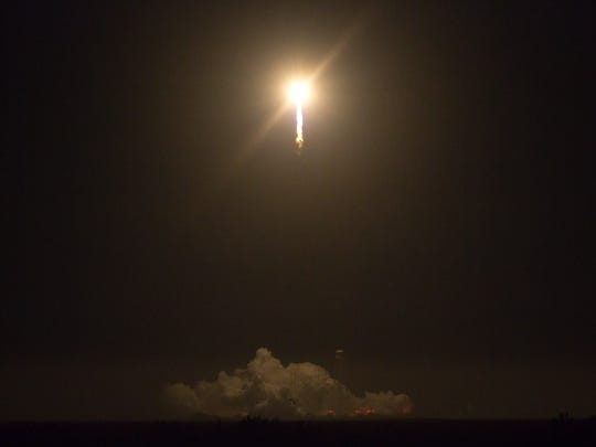 A view of the Antares rocket during its launch from NASA Wallops Flight Facility on Monday, Oct. 17, 2016.