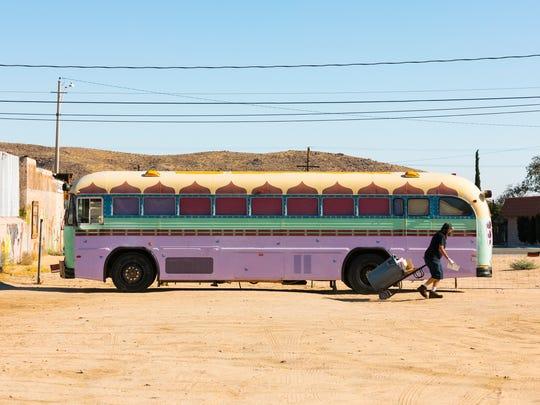 The bus outside Joshua Tree Saloon