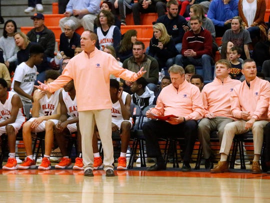 Blackman boys coach Barry Wortman gestures from the bench during a recent game. The Blaze are off to a 9-0 start.