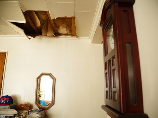 One of  two large holes in the ceiling of Aileen Reed