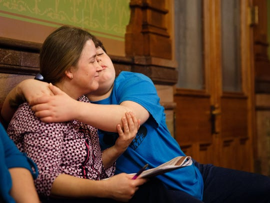 Tammy Nyden and her son Cole Bullock, 15, of Iowa City, attend a session on children's mental health, held at the Iowa Capitol on Feb. 28, 2018, in Des Moines.