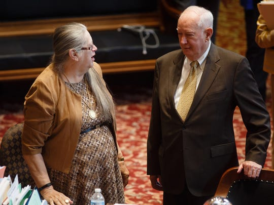 Sen. Wally Horn, D-35th District, is the longest-serving legislator in Iowa history and he is retiring after this session. His wife is Phyllis Peterson, who is his legislative clerk in the Senate chamber stands to his left on Wednesday, March 28, 2018, in Des Moines.
