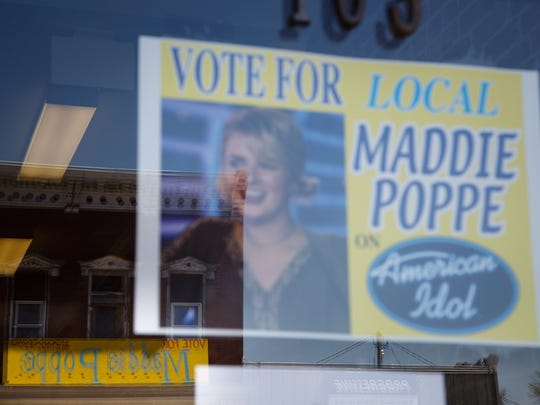 Signs showing support for Amaerican Idol contestant