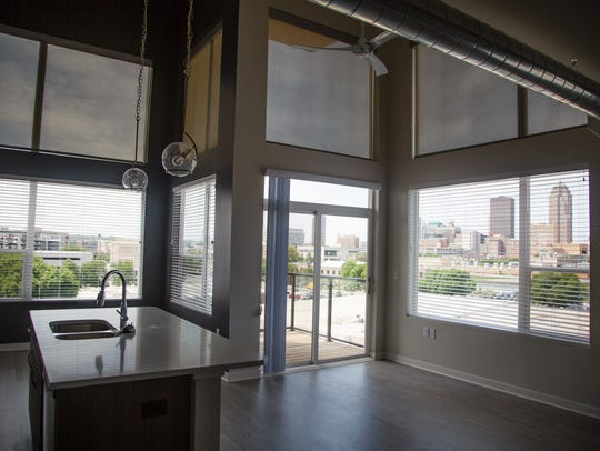 A two bedroom corner apartment with one of the best views of downtown at Verve inside the Bridge District, a new development by Hubbell on the east bank of the Des Moines River on Friday, May 25, 2018, in Des Moines.