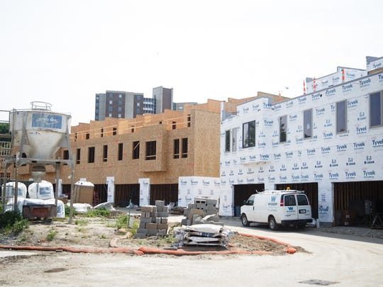 Construction continues on The Bridge District, a new development by Hubbell on Des Moines East side on Friday, May 25, 2018, in Des Moines.