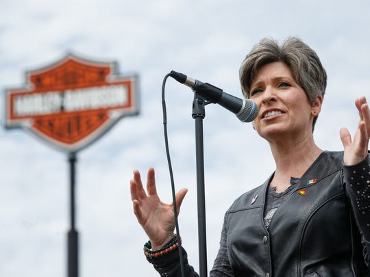 Iowa Sen. Joni Ernst speaks before her fourth annual Roast and Ride from Big Barn Harley Davidson in Des Moines to the Central Iowa Expo on Saturday, June 9, 2018, in Boone.