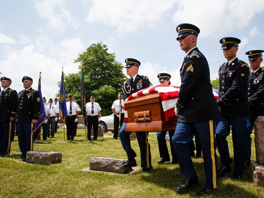 Members of the National Guard carry the casket of Army