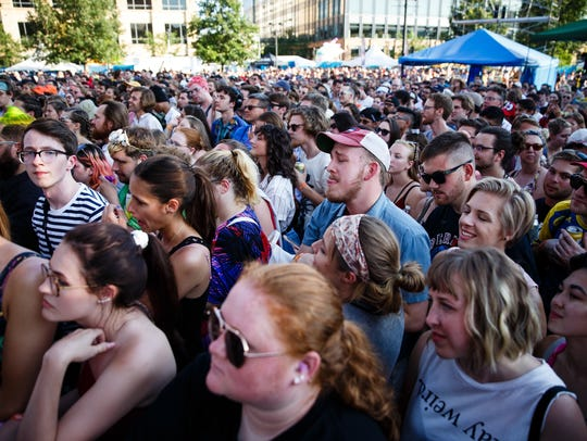 Fans cheer as Courtney Barnett plays on the main stage