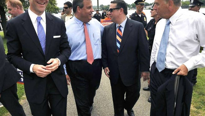 (From left) Bill Baroni, Gov. Chris Christie, David Wildstein, and David Samson in 2013.