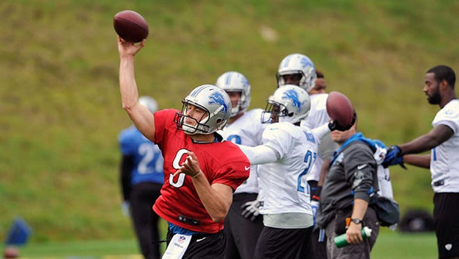 Lions QB Matthew Stafford throws during practice Wednesday in Bagshot, England.
