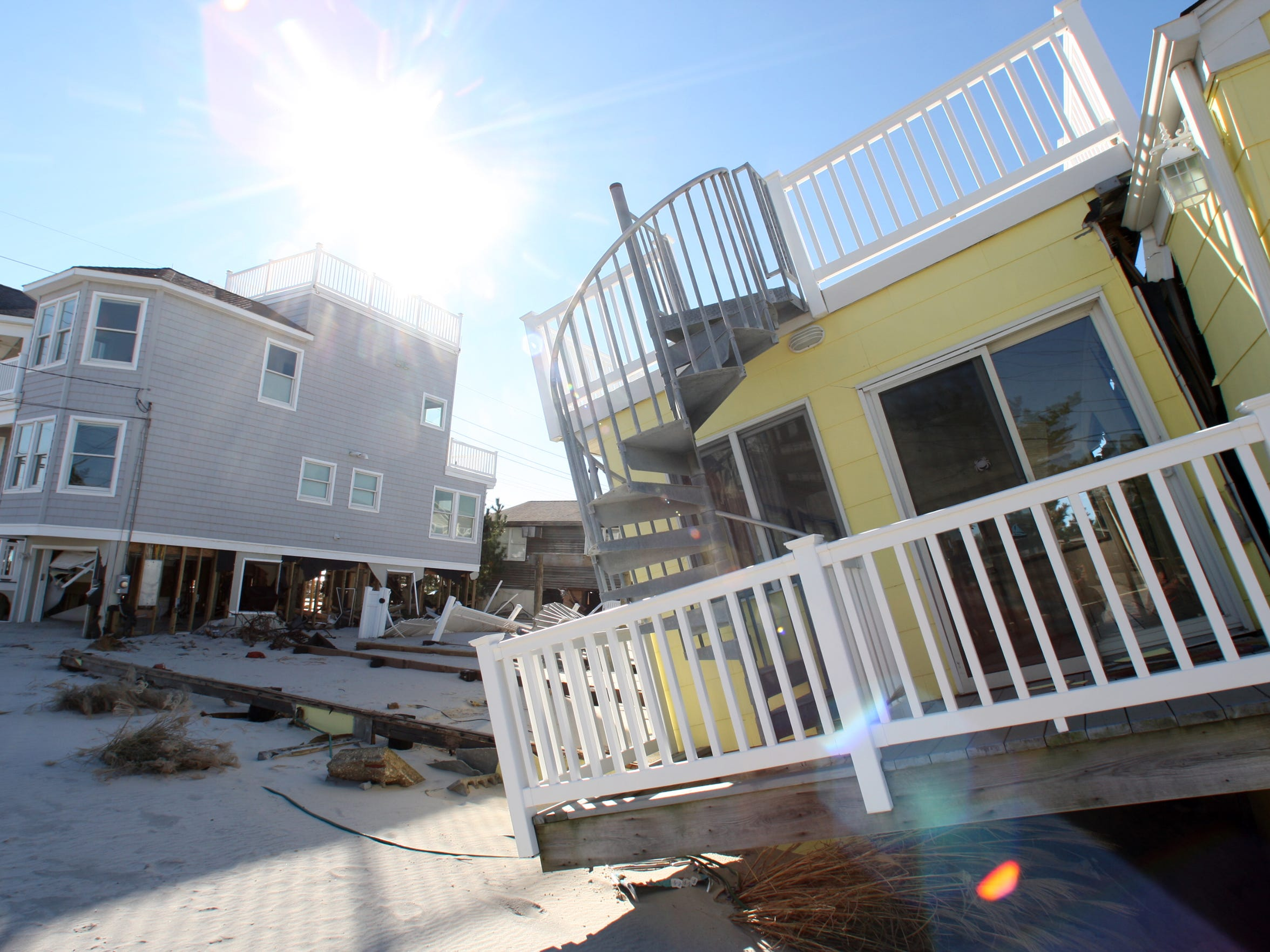 A home knocked off its foundation after superstorm