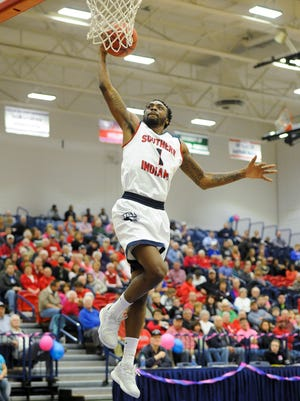 Southern Indiana guard Jeril Taylor (1) dunks the ball during their game against Illinois Springfield at USI in Evansville, Thursday, Feb. 16, 2017. Southern Indiana beat Illinois Springfield 90-57.