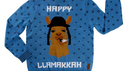 This image released by Tipsy Elves shows a holiday-themed sweater featuring a llama. With Christmas and Hanukkah bumping together this year _ Hanukkah begins on Dec. 24 _ llamas have become an oddball theme on ugly sweaters, gift wrap, greeting cards and other items for both holidays.