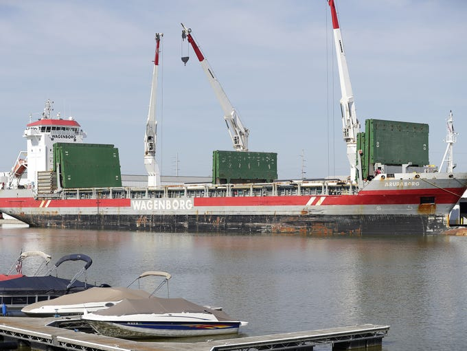 The MV Arubaborg cargo ship is docked on the Fox River