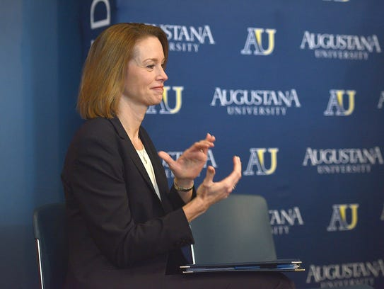 Augustana President Stephanie Herseth Sandlin introduces
