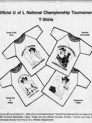 An advertisement for T-shirts celebrating the 1986