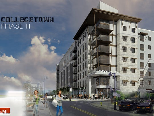 Rendering of CollegeTown Phase III, a student housing