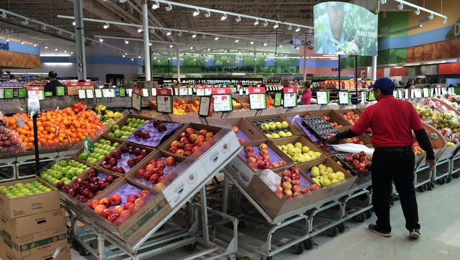 Meijer stores have both groceries and general merchandise. Here, a produce section in an Indiana Meijer supercenter.