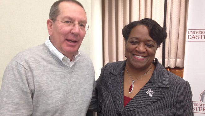 UMES President Juliette Bell is shown with Princess Anne businessman Richard Evanusa of Beach to Bay Seafood. They chatted at a forum that announced a $172,000 grant to UMES from USDA to benefit small farmers in early 2016.