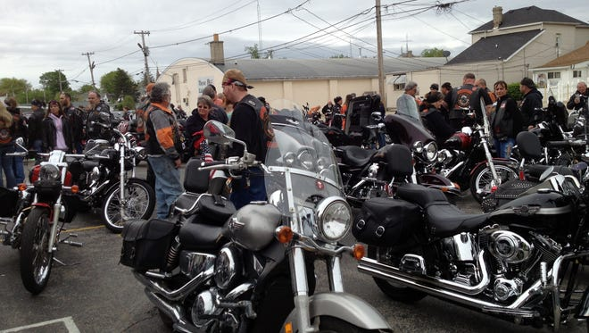 Riders gather for a Whitewater Valley Motorcycle Club benefit ride.