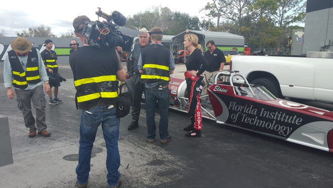 "Jay Leno, center, host of ""Jay Leno's Garage"" on CNBC, filmed a segment at Larsen Motorsports in Palm Bay on Feb. 23."