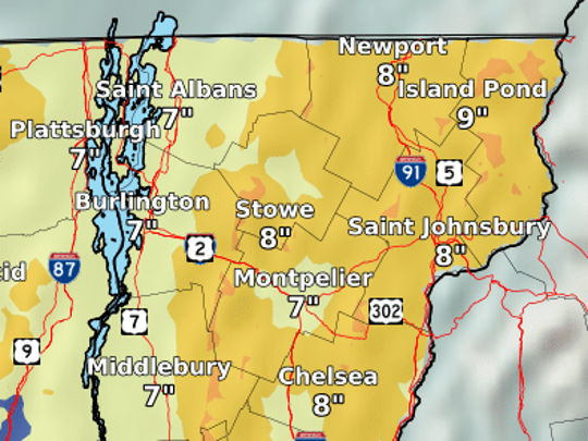 Estimated snowfall totals for March 13 -14 are shown in this National Weather Service map created Tuesday morning.