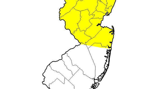 The yellow area is abnormally dry after little rain in recent weeks