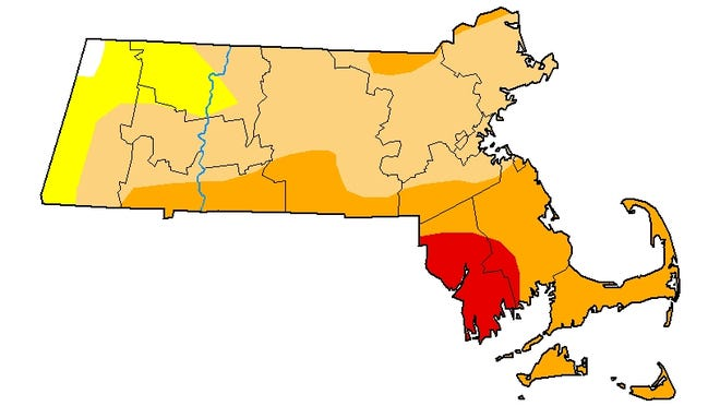 "The U.S. Drought Monitor map of Massachusetts as it was released on Sept. 17. The dark red area is classified as in an ""extreme drought."" The dark orange represents a region in a ""severe drought"" while the light orange is region in a ""moderate drought."" The region in yellow is ""abnormaly dry."""