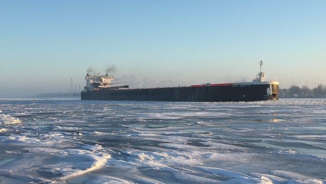 The Walter J. McCarthy travels southbound Tuesday on the St. Clair River near Marysville.