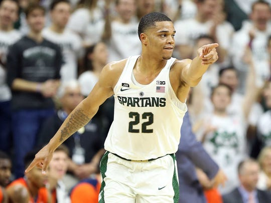 Michigan State's Miles Bridges directs traffic during the first half on Tuesday, Feb. 20, 2018, at Breslin Center.