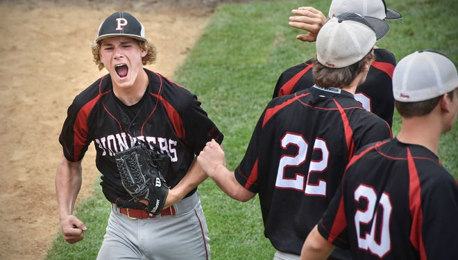 Matt Tautges celebrates after pitching out of a bases-loaded jam June 16 at Dick Putz Field in the state high school tournament. Tautges and the Pierz Legion team play at 4 p.m. Thursday in Wahpeton, North Dakota, in the Central Plains Regional.