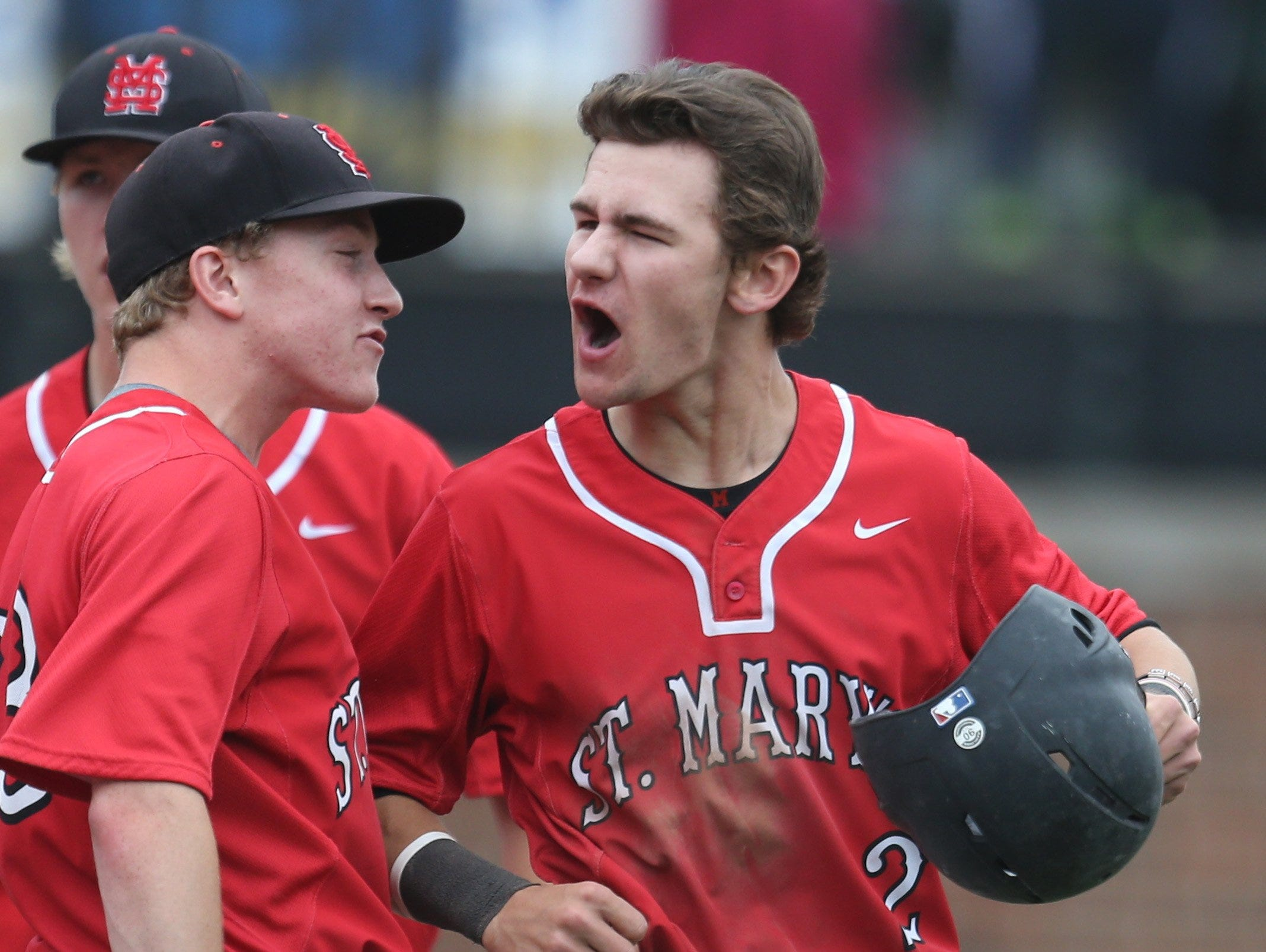 Orchard Lake St. Mary's Griffin Sheposh scores against Mt. Pleasant high school in the second inning in the Division 2 MHSAA State Championship game on Saturday, June 13, 2015.