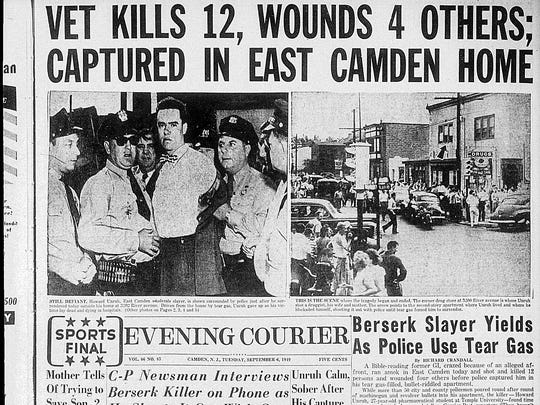 Photo of the Sept. 6, 1949 Evening Courier telling the story of the Howard Unruh massacre. On that day, the former Vet went on an unprovoked rampage, shooting at everyone in sight. He wounded three and killed 13 before police captured him after a standoff at his apartment.