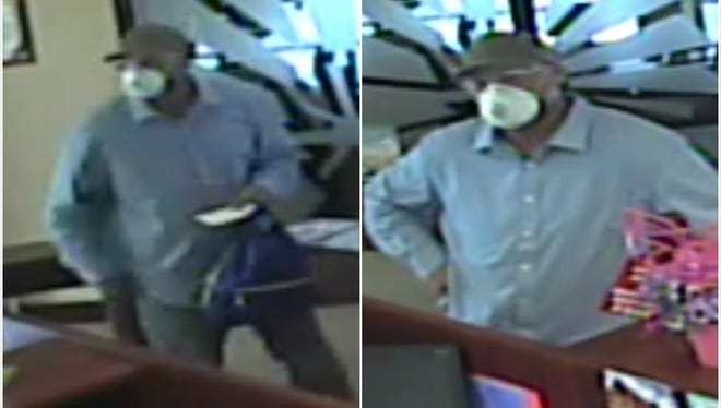 A masked man walked into Pioneer Bank, 705 E. University Ave., on March 26 and handed the teller a note demanding money.