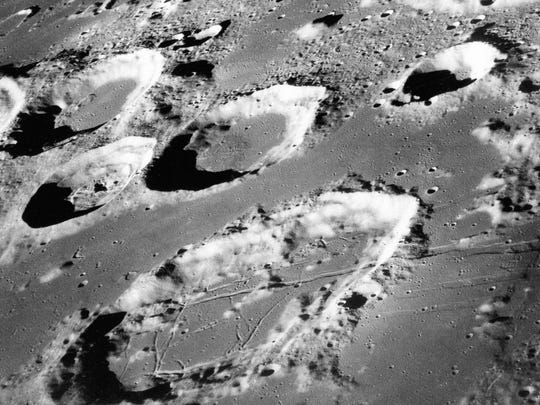 This Dec. 29, 1968 photo shows the large moon crater
