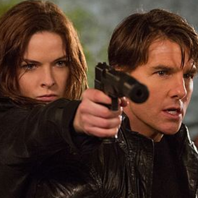 """Rebecca Ferguson and Tom Cruise in """"Mission Impossible: Rogue Nation"""""""