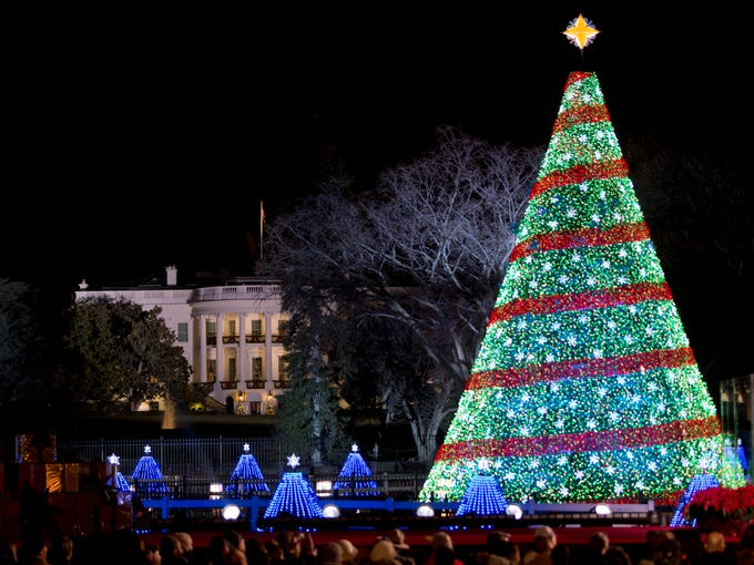 The 2014 National Christmas Tree stands near the White - USA TODAY