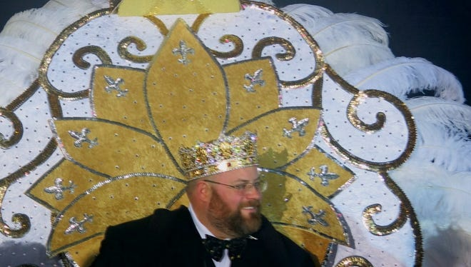 Krewe Justinian XXIII Brady D. O'Callaghan meets his subjects at Grand Bal XXIII.