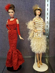 Maribeth Regnier's flapper Barbie doll is wearing hand-knitted