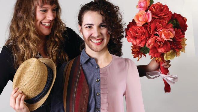 """Mallory Pellegrino, left, and Angelina Mussro are featured in the Warehouse Theatre's """"Twelfth Night,"""" opening Thursday."""