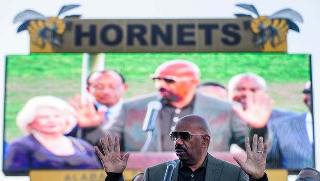 Entertainer Steve Harvey speaks as he announces a partnership with Alabama State University at ASU Stadium in Montgomery, Ala. on Saturday April 2, 2016.