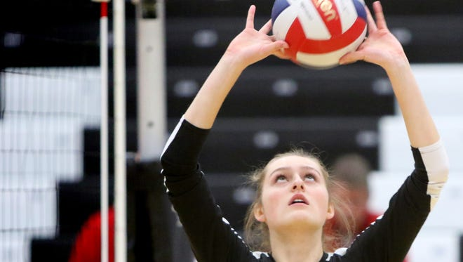 Pewaukee setter Kat Van Hulle, shown here in a match earlier this season, had 16 assists and four blocks in the team's victory over Kettle Moraine Lutheran Thursday.