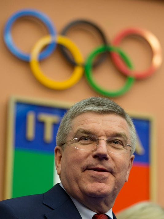International Olympic Committee, IOC, president Thomas Bach delivers his speech as he visits the Italian Olympic Committee headquarters, in Rome, Friday, May 22, 2015. Bach said Rome has a good chance of securing the 2024 Olympics and bringing the games back to the Italian capital for the first time since 1960. (AP Photo/Andrew Medichini)