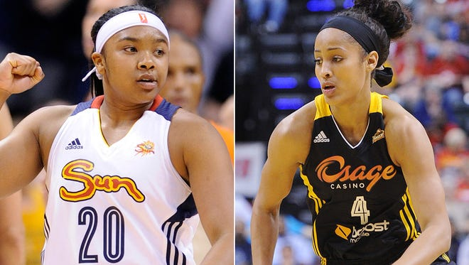 Alex Bentley  (left) and Skylar Diggins were named the WNBA's top players for last week. June 16, 2014