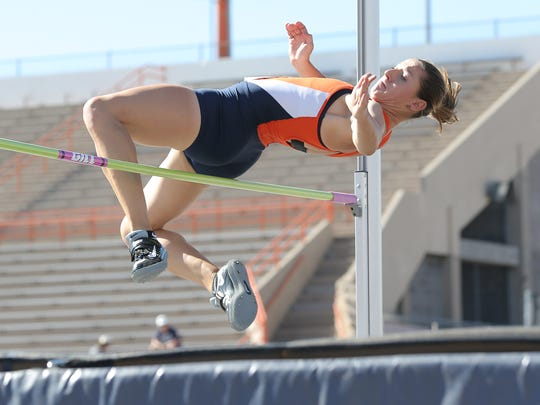 UTEP's Lucia Mokrasova clears the bar in the high jump as she competes in the Conference USA Outdoor Track and Field Championships at Kidd Field. The meet runs throughout the weekend at UTEP.