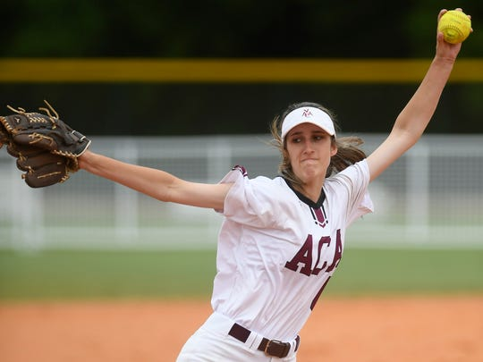 Alabama Christian's Haley Pittman pitches against Hale County during the state softball tournament at Lagoon Park in Montgomery, Ala., on Thursday May 17, 2018.