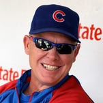 Chicago Cubs manager Mike Quade talks to the media before an interleague baseball game against the New York Yankees on June 18, 2011.