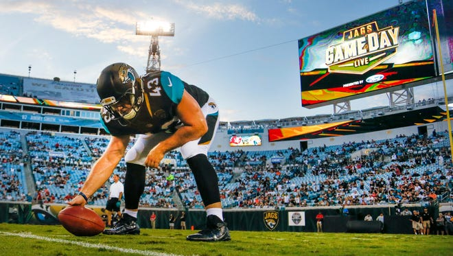 Aug 17, 2017; Jacksonville, FL, USA; Jacksonville Jaguars long snapper Matt Overton (43) practices snaps before an NFL football game against the Tampa Bay Buccaneers at EverBank Field.